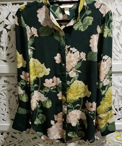 H&M Conscious Green Floral Button Up Blouse